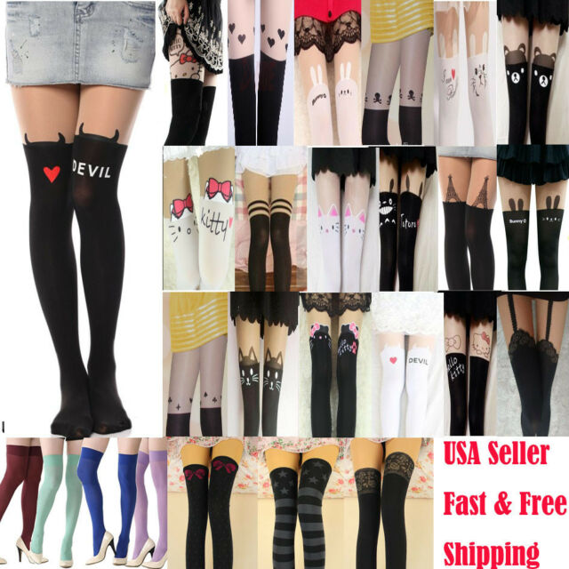 Sexy Chic Mock Tattoo Top Sheer Stockings Fashion Nylon Pantyhose Multiple Style