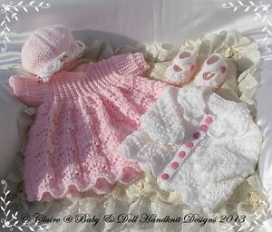 BABYDOLL-HANDKNIT-DESIGNS-KNITTING-PATTERN-DRESS-SET-16-22-034-DOLL-OR-0-3M-BABY