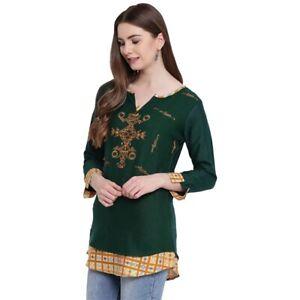 Women-Indian-Short-Embroidery-Rayon-Kurti-Tunic-Kurta-Top-Shirt-Tunic-Dress