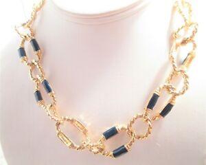 256e4890e Signed AK Anne Klein Necklace Black Enamel & Gold Tone Adjustable ...