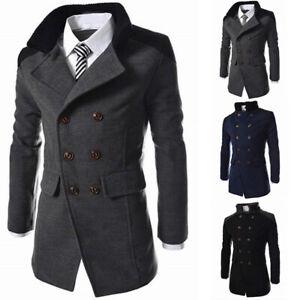 Warm Mens Double Long Trench Winter Coat Wool Breasted Jacket Overcoat Outwear