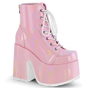 Demonia CAMEL-203 Baby Pink Funk Costume Disco Chunky Platform Women Ankle Boot