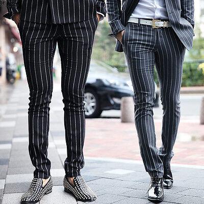 BytheR Men's Classic Modern Chalk Stripe Slim Straight Slacks P000BFYA CA