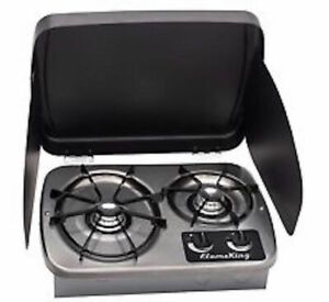LP-Gas-Drop-In-2-Burner-Cook-Top-Stove-Stainless-Steel-W-Cover-Rv-Marine-New
