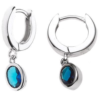 1 Paar Creolen 925 Sterling Silber 2 Zirkonia blau H 21,3 mm Ohrringe  Creole