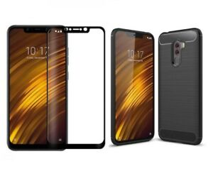 finest selection f8a3a d6d13 Details about For Xiaomi Pocophone F1 Case Carbon Cover & Full Glass Screen  Protector