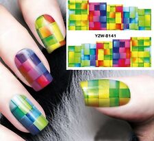 Nail Art Stickers Water Decals Transfers Disco Rainbow Pattern Gel Polish