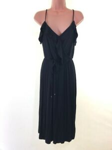 BNWT-OASIS-black-cold-shoulder-jersey-midi-dress-size-S-Small-10-euro-38