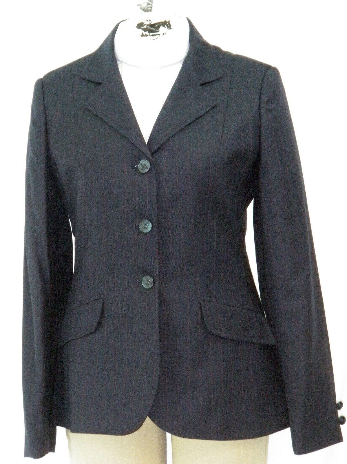 Reed Hill Hunt Coat Navy w  Red Stripe  Ladies wool size 8  100% free shipping