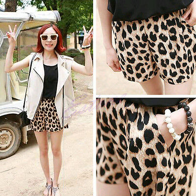 New Women Casual Leopard Animal Print Middle Waist Short Pants Stretchy HOT