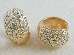 18K-Gold-Filled-Stylish-Italian-AB-CZ-18ct-GF-Hoops-Earrings-15mm