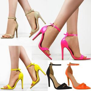 537c33c6ad67 Womens Ladies Bright Neon Pink Yellow High Heel Party Sandals Barely ...