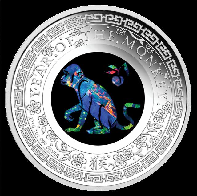 2016 Australian Opal Lunar Series - Year of the Monkey 1oz Silver Proof Coin