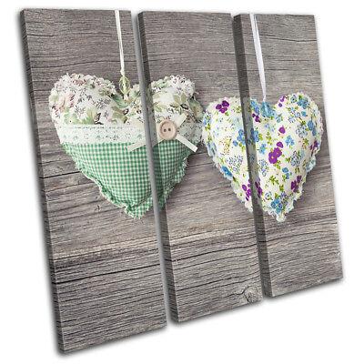 Hearts Crochet Shabby Chic Wooden Love TREBLE CANVAS WALL ...