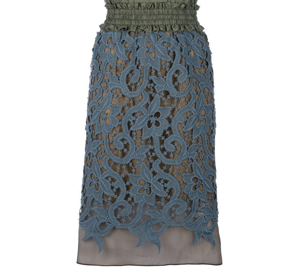 Carven bluee Lace Pencil Skirt Size 38