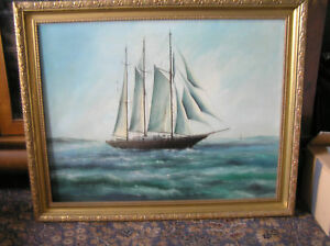 GENUINE-LARGE-FRAMED-OIL-PAINTING-ARTIST-R-MEES-SHIP-SCHOONER-SAILING-BOAT