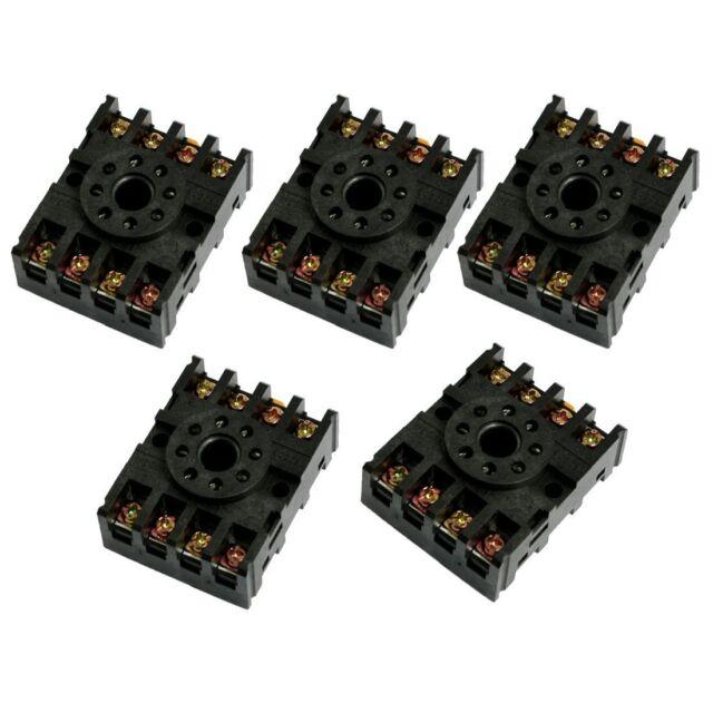 5 Pcs 8-Pin Screw Terminals PF083A Relay Base Socket for Time Delay CS
