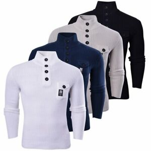 Crosshatch-Mens-Funnel-Neck-Ribbed-Jumper-Knitwear-Button-Up-Pullover-Top
