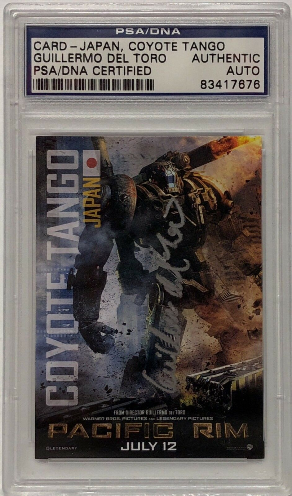 Guillermo Del Toro Signed Pacific Rim Japan, Coyote Tango Card Slabbed PSA