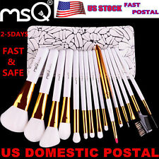 US DELIVERY MSQ 15Pcs Makeup Brush Set Pro Make up Brushes Kit + Pouch Case Bags
