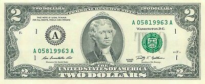 ",consecutive,Uncirculated 2009 $2 dollar bill BOSTON ""A"""