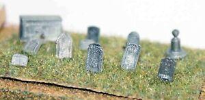 Grave-Tombstones-A36-UNPAINTED-N-Gauge-Scale-Langley-Models-Kit-1-148-Scenery