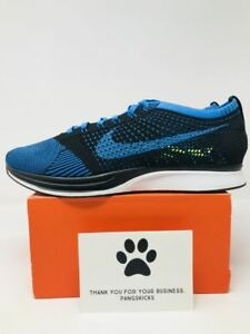 ad8026fabd47b Image is loading Nike-Flyknit-Racer-Black-Photo-Blue-White-526628-