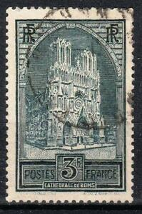 FRANCE-STAMP-TIMBRE-N-259-b-034-CATHEDRALE-REIMS-3F-TYPE-III-034-OBLITERE-TB-M540
