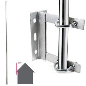 GALVANISED-TV-Aerial-Wall-Mounting-Kit-Straight-6-Foot-Pole-Mast-Outdoor-Bracket