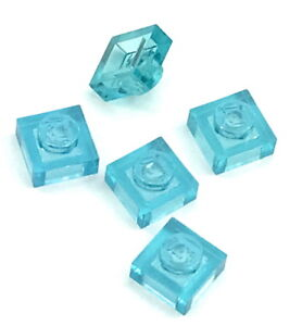 Lego 5 New Trans-Light Blue Tile Pieces Round 1 x 1