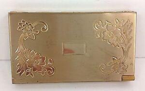 Volupte Portmanteau Gold Tone Mid Century Compact Case Vanity Antique Carry Case