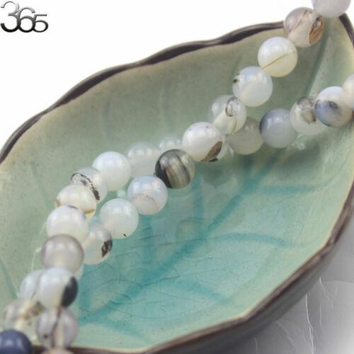 "6-14mm DIY Natural Round Gemstone Gray Leaf Agate Onyx Jewelry Bead Strand 15/"""