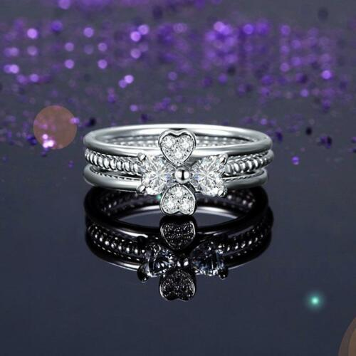 Details about  /Solid 925 Sterling Silver Ring Set 3-Pcs Heart Love Jewelry New Design
