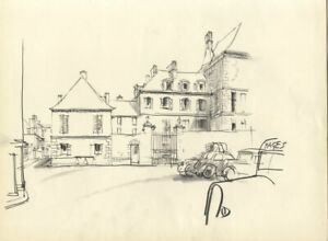 Austin Blomfield - Mid 20th Century Graphite Drawing, Houses and Cars