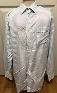 Tommy-Bahama-Men-039-s-Size-17-5-34-35-Long-Sleeve-White-Striped-Dress-Shirt