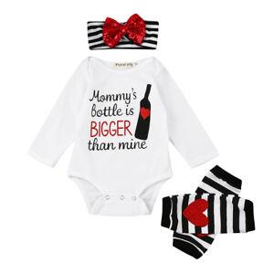 d434a5106 Newborn Infant Girls Letter Romper Tops+Leg Warmer+Bowknot Headband ...