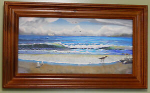 SANDPIPERS-Original-Oil-on-Canvas-Painting-Artist-Signed-Seagulls-beach-birds