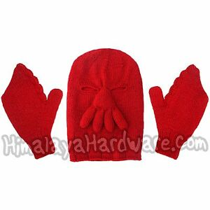 zoidberg knit wool hat gloves red winter crab mittens futurama