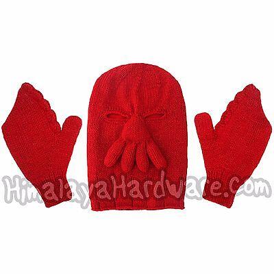Zoidberg Wool HAT & GLOVES: red winter crab glove mittens futurama geek ski mask