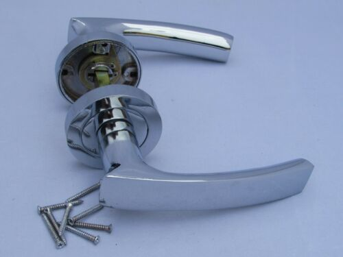 CHROME MODERN LEVER Door Handles ON ROUND ROSE Interior with fixings SET D25