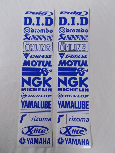 30 Teilig - Motorrad Sponsoren Aufkleber - Set 16cm - blau - a. Farben möglich