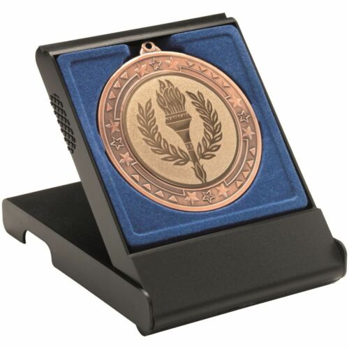 LARGE 4.75in 50//60//70MM RECESS BLUE INSERT BLACK MEDAL BOX