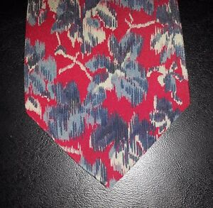 Valentino-Cravatte-Tie-Silk-Abstract-Floral-Design-Red-Blue-Gray-Flowers-t3129