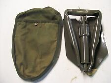FOLDING SURVIVAL CAMPING SHOVEL & STORAGE POUCH MILITARY STYLE PREOWNED