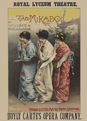 Opera Classical Music Poster 1895 Gilbert /& Sullivan THE MIKADO Edinburgh