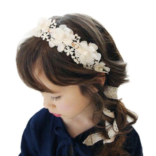Baby Girl Headband Lace Pearl Flower Hairband Q5R3 White