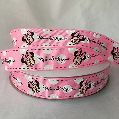 YARD DISNEY PINK MINNE MOUSE POLKA DOT GROSGRAIN RIBBON GIRLS CHARACTER