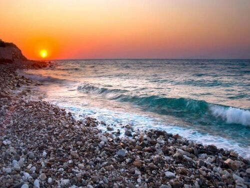 Rocky Beach Sunset wave 3D Full Wall Mural Large Print Wallpaper Home Decal Deco