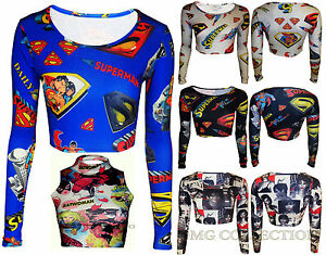 Womens-New-Ladies-Comic-Boom-Superman-Rihanna-Print-Crop-Cropped-Top-Size-8-14