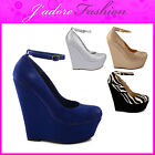 NEW LADIES ANKLE STRAPPY WEDGE FASHION HIGH HEEL COURT PLATFORM SHOES  UK 3-8